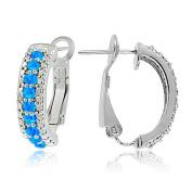 Sterling Silver Created Opal & Diamond Accent Half Hoop Earrings