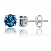 Sterling Silver London Blue Topaz 6mm Round Prong-set Stud Earrings