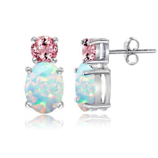 Sterling Silver Multi Colour Gemstone Double Solitaire Stud Earrings