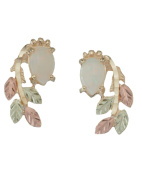 Opal Cabochon Pear Inlaid Leaf Earrings, 10k Yellow Gold, 12k Rose and Green Gold Black Hills Gold Motif