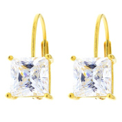 14k Yellow Gold Plated Sterling Silver Princess Cut Cubic Zirconia Leverback Earrings