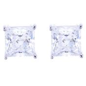 Platinum Plated Sterling Silver Cubic Zirconia Princess Cut Stud Earrings
