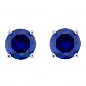 Sterling Silver Blue Cubic Zirconia Round Stud Earrings