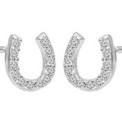 Sterling Silver Cubic Zirconia Small Horseshoe Stud earrings