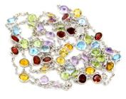 Multicolor 3 mm Gemstones 90cm Necklace 14k White Gold Chain,8.1 Grammes