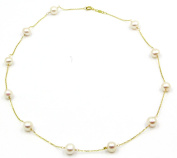 """Freshwater 6.5 mm - 7 mm White Pearl Tin Cup 16"""" Necklace 14k Yellow Gold Chain"""