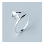 Hi-summer Innovative Ginkgo Leaf Sterling Silver Open Ring
