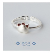 Hi-summer Innovative Dull Polish Cat's Paw Sterling Silver Open Ring