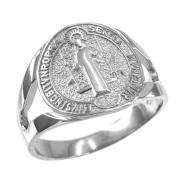 10K White Gold Saint Benedict Medallion Ring
