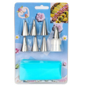 MCIRCO 7-piece Stainless Steel Korean Bobbi Skirt Icing Tips Russian Piping Tips Set Cake Decorating Supplies Nozzles with One Coupler and One Silicone Pastry Piping Bag