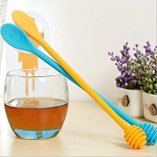 Astra shop 2-PCS New Mini Smile Face Silicone Honey Dripper Stick and Mxing Spoon Coffee Stirer 2 in 1