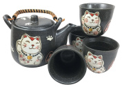Japanese Design Maneki Neko Lucky Cat Black Ceramic Tea Pot and Cups Set Serves 4 Beautifully Packaged in Gift Box Excellent Home Decor Asian Living Gift for Chefs Moms And Sushi Enthusiasts