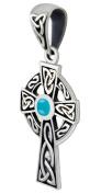 New 2.2cm 0.925 Sterling Silver Irish Celtic Knot Cross Turquoise Pendant