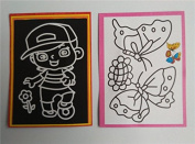 20pcs/lot 13*9.5cm Two-in-one Magic Colour Scratch Art Paper Colouring Cards Scraping Drawing Toys for Children