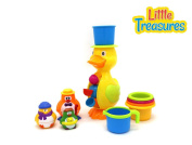 A Verzabo Penguin Family and Waterfall Duck Bath Toy Play Set That Includes A Water Pail and Water Container Stack Set