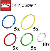 LEGO Technic NEW 30 pcs RUBBER BAND BELT PACK Colours Green Yellow Blue Red White Medium Extra Large Small Elastic Round Cross Section