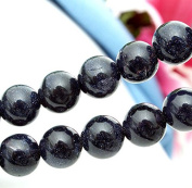 Ecloud Shop® 2 X Strands Blue Goldstone Sand Stone 10mm Round Beads