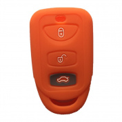 Orange 3 Buttons Silicone Key Fob Case Cover Jacket Key Skin fit for Kia for for for for for for for for for for for Hyundai