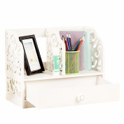 Revesun DIY Multi-Use Wooden Desk Organiser Small Objects Cosmetics Storage Box keeps everything tidy(With the drawer) White