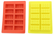 Excellent Quality Multi Building Bricks Ice Cube Trays & Candy Chocolate Moulds - Great Moulds for Melted Chocolate & Soap or Own Crayons - Birthday Day or Party Favours of Lego Building Bricks - Set of 2, Much Fun for Lego Lovers