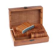 LEMONBEST Vintage Wooden Rubber Letter Number Stamp Set DIY Diary Cards Stamps Craft, 70 pcs Alphabet Letter Number Symbol