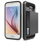 Galaxy S6 Case, KAMII Glide Pocket Stash Galaxy S6 Card Case For Samsung Galaxy S6 [Shock Absorbent] with Cushion [Dual Layer Design] [Heavy Duty][Wallet] Slot Holder