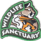 """WILDLIFE SANCTUARY"" PATCH-Iron On Embroidered Applique/Wild Animals,Zoo,Jungle"