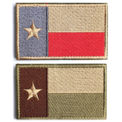 Bundle 2 pieces - Tactical American US Texas Lonely Star flag Patch with hook and loop backing Multi-tan & Subdued Silver Decorative Embroidered Badge appliques 5.1cm high by 8.1cm wide