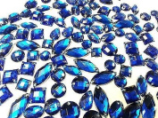 80 Royal Blue Faceted Acrylic Sew On, Stick on Diamante Crystal Rhinestone Gems