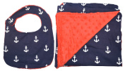 Unique Baby Bib and Blanket Gift Set Straight Edge Anchor Print Red