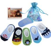 Yantu 5 Pairs Newborn Baby Boys Toddler Anti Slip Skid Slipper foot Socks + Gift bag + Gift Card, Stripes No-Show Crew Boat Socks Footsocks sneakers, Length 9-15cm/3.54-5.9inch for 6-18 month