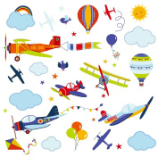 Aeroplanes Nursery Nursery/Boys Room Peel & Stick Wall Art Sticker Decals