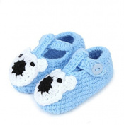 FuzzyGreen® Cute Bear Baby Newborn Infant Girl Boy Hand Knitting Crochet Pre Walker Toddler Buckle Shoes Socks Booties