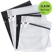 6 Pack (3 Medium & 3 Large) - HOPDAY Delicates Mesh Laundry Bags, Bra Lingerie Drying Wash Bags ( Black & White) with Zipper