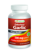 Odourless Garlic 500 mg 240 Softgels by Best Naturals - Supports Heart Health - Manufactured in a USA Based GMP Certified Facility and Third Party Tested for Purity. Guaranteed!!