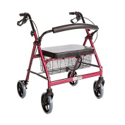 Bariatric Rollator Walker Heavy Duty with Large Padded Seat up to 180kg Capacity (Red) By Healthline Trading