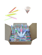 Perfect Stix Snow Cone Cup Kit - 50ct Snow Cone Kit with 50 Cups, 50 Neon Straws and 50 Snow Cone Candy Spoons