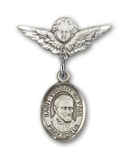 ReligiousObsession's Sterling Silver Baby Badge with St. Vincent de Paul Charm and Angel with Wings Badge Pin
