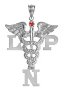 NursingPin - Licenced Practical Nurse LPN Charm with Ruby in Silver