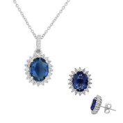 925 Sterling Silver Blue Sapphire-Tone White CZ Oval Charm Necklace Stud Earrings Set