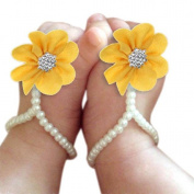 Culater® 1Pair Infant Pearl Chiffon Barefoot Toddler Foot Flower Beach Sandals