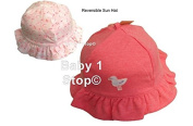 Baby Girls Pink Reversible Sun Hat Cute Seagull Design