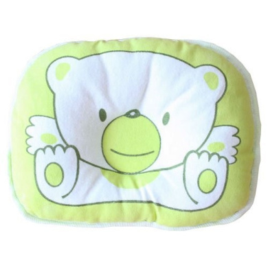 Kasstino Cotton Bear Baby sleeping Pillow Mat with Concave Centre Flat Head Prevention (Green)