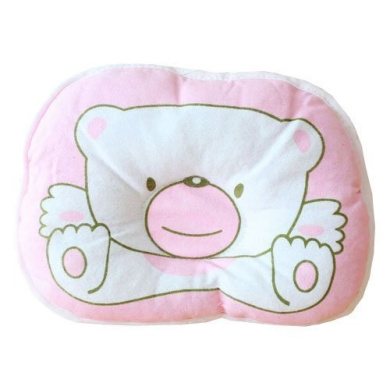 Kasstino Cotton Bear Baby sleeping Pillow Mat with Concave Centre Flat Head Prevention (Pink)