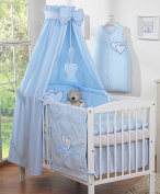 Fabric Canopy for Baby Child Blue with Hearts