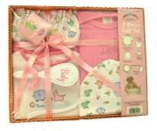 Baby 7 Piece Bath Gift Set - Includes 1 Embroidered Creeper, 1 Printed Bib, 1 Printed Cap, Infant Mittens, 2 Washcloths, & a Brush and Comb (Pink) by Baby King
