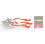 Award Winning CleverGrip Training Fork, Knife & Spoon Cutlery Set From 24 Months - BPA Free - ORANGE