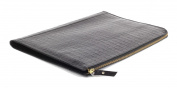 BLACK Croc Print Leather Under Arm Meeting Folio A4 Document Holder Folder Case