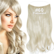 Double Wall Corrugated Flip Halo Hair Extensions - Platinum Blonde (# 60), 50 cm, 120 g