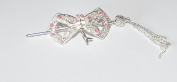 Silver Tone Shawl Pin Hair Barrette Moth Shape With Diamante Pink Crystals